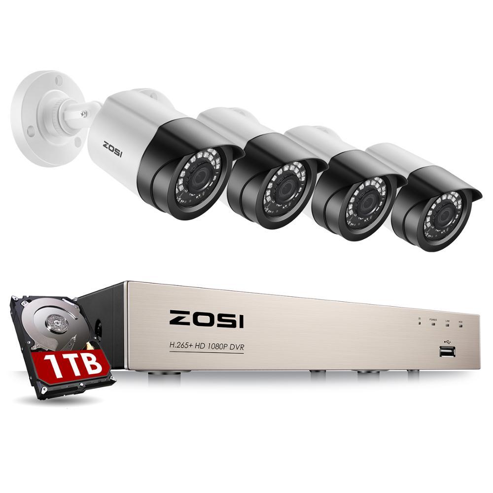 ZOSI Security Camera System 8CH 1080p H 265  TVI CCTV DVR with 4 x 2 0mp Security Cameras Kits Home Video Surveillance System
