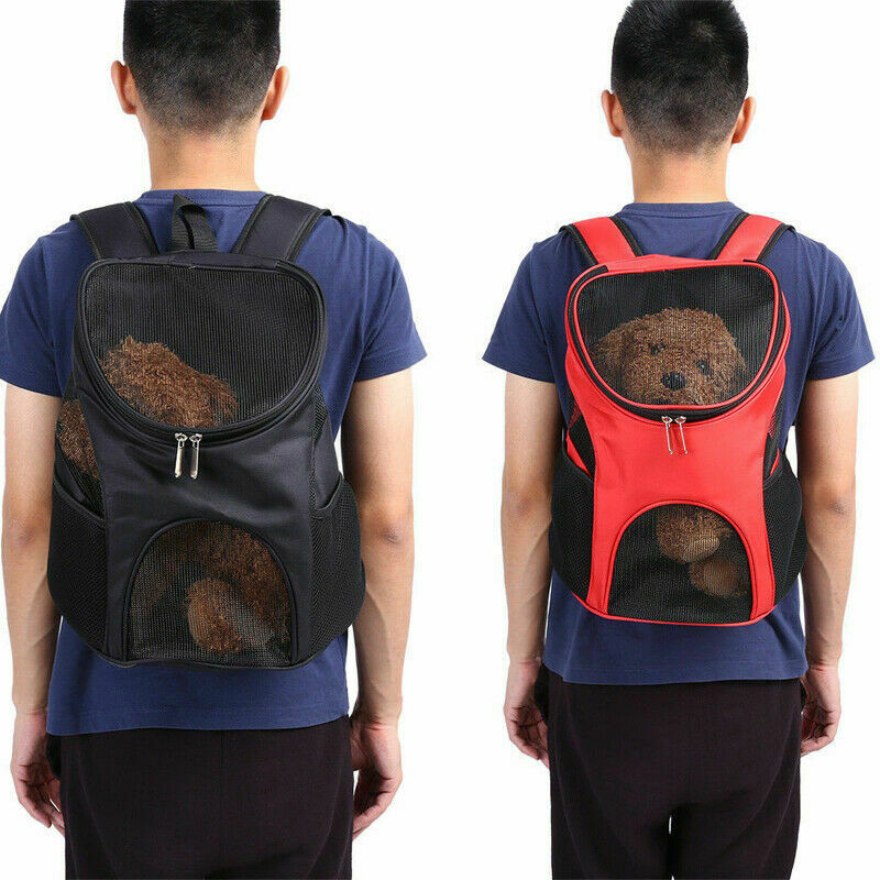 Woman Unisex  Pet Backpack Mesh Breathable Stitching Backpack Pet Travel Dogs Cat Carrier Mesh Windows