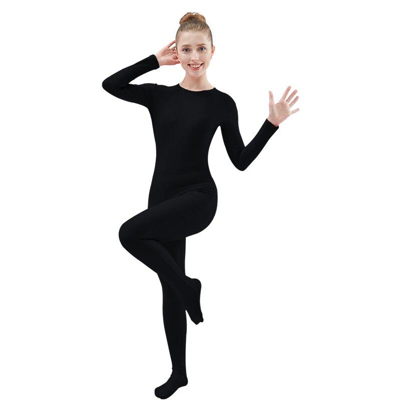 Ensnovo Women Lycra Nylon Spandex Unitard Full Bodysuit Zentai Suit Black Dancewear Bodysuit Catsuit Costume Jumpsuits Playsuits