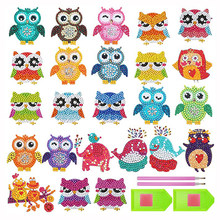 24 Pcs 5D Diamond Painting Stickers Kits for Kids DIY Art Craft Animal Owl Painting with Diamonds Paint by Numbers for Children(China)