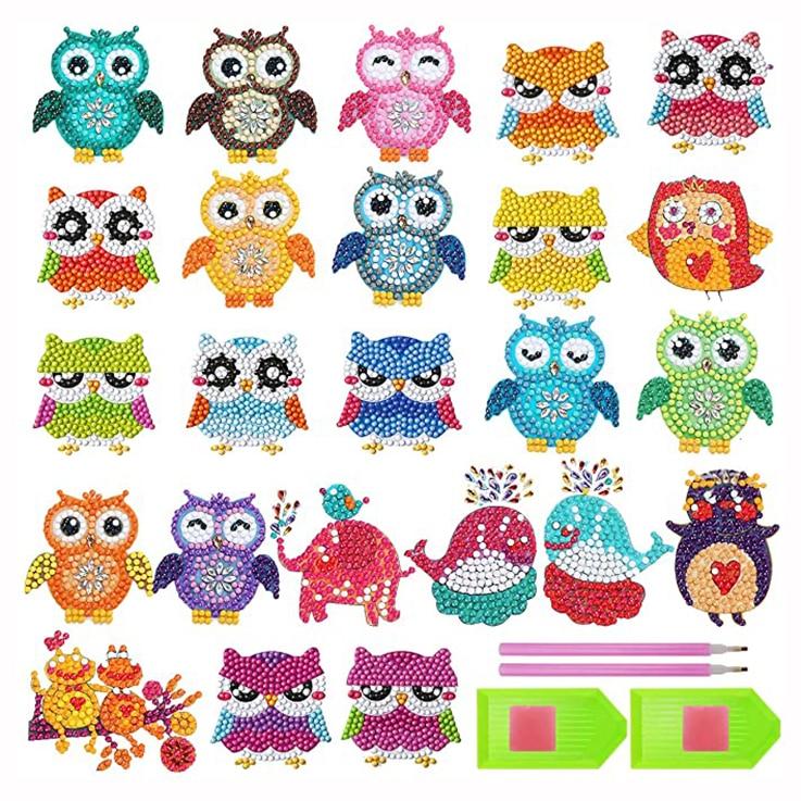 24 Pcs 5D Pintura Diamante Adesivos Kits para Crianças DIY Arte Artesanato Pintura Da Coruja Animal com Diamantes Pintura por Números para As Crianças
