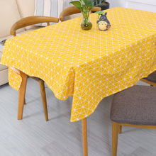 Cute Table Cloth Nordic Geometric Cotton Linen Rectangular Tablecloths Dining Home Hotel Decorative Cover Multi Color 1pc