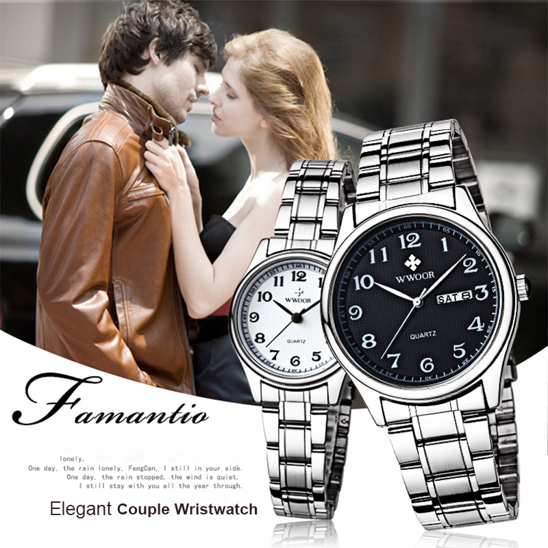 WWOOR Couple Watches Pair Men And Women Luxury Fashion Quartz Clock Sport Waterproof Gift Wristwatch Reloj Pareja Hombre Y Mujer