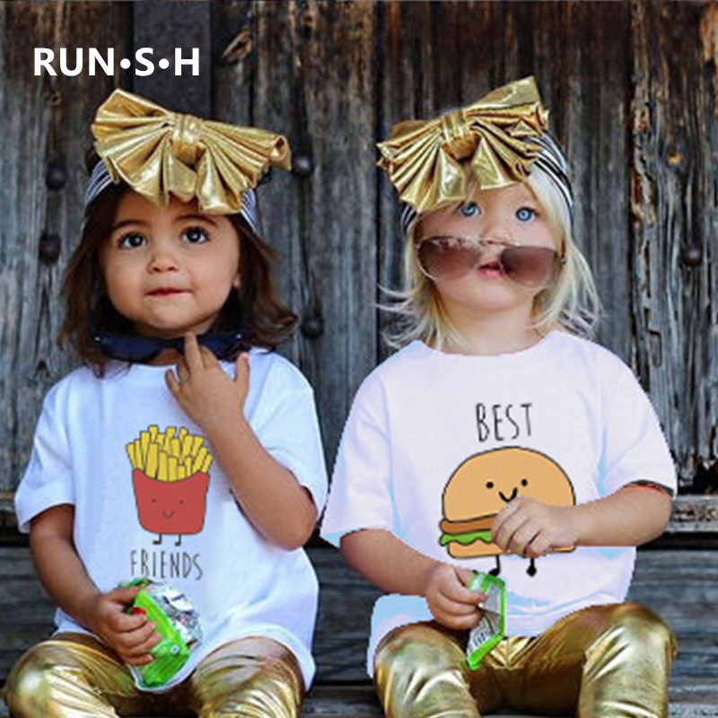 Summer Fashion Hamburg Chips Girl Top <font><b>Shirt</b></font> Teen <font><b>Best</b></font> <font><b>Friends</b></font> Kawaii Funny Boys T <font><b>Shirts</b></font> Casual Children Boys Girls T <font><b>Shirt</b></font> <font><b>Kid</b></font> image