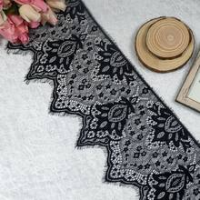 3 Meter Black&White Eyelash Lace Trim Flower lace fabric ribbon DIY Crafts Wedding Dress Clothing Lngeire lace material Handmade(China)