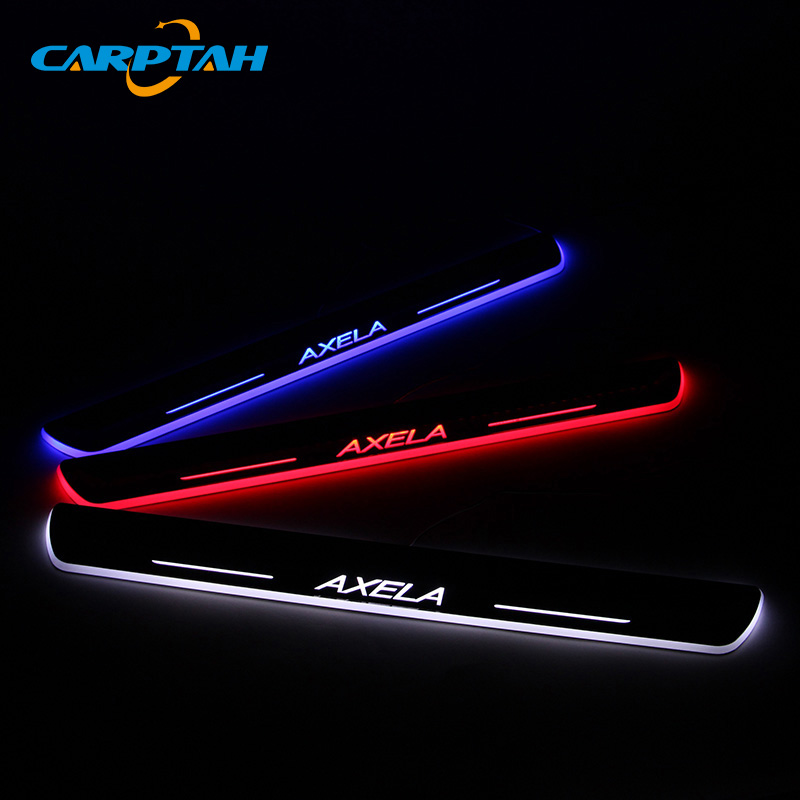 CARPTAH Trim Pedal Car Exterior Parts LED Door Sill Scuff Plate Pathway Dynamic Streamer light For Mazda 3 Axela 2013 - 2018