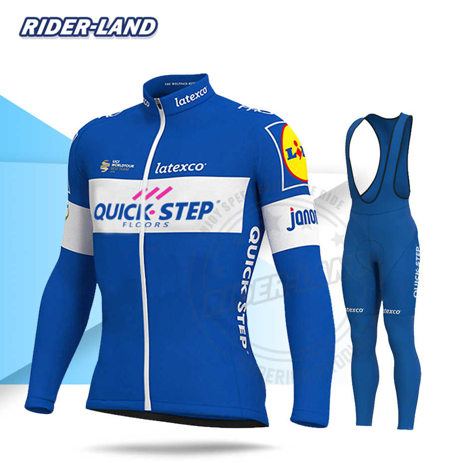 Pro Team Quick Step Cycling Kleding Mannen Herfst Lente Lange Mouw Sets Mtb Racing Road Bike Wear Kleding Maillot Ropa ciclismo