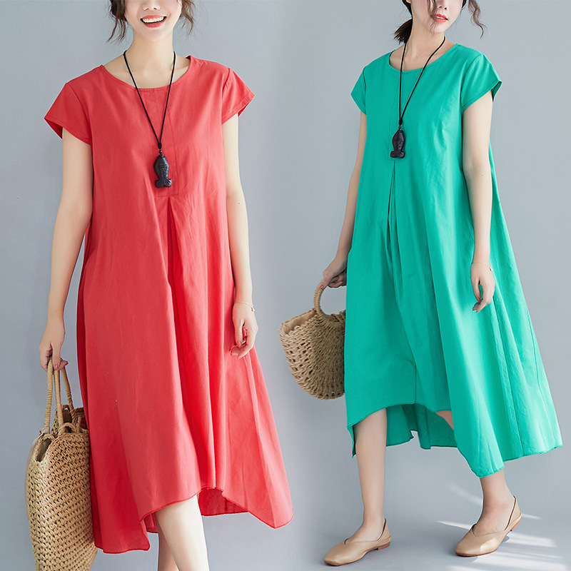 Cotton Linen Ethnic-Style WOMEN'S Dress 2019 Summer New Style Cotton Linen Literature And Art Large Size Dress Loose-Fit Over-th
