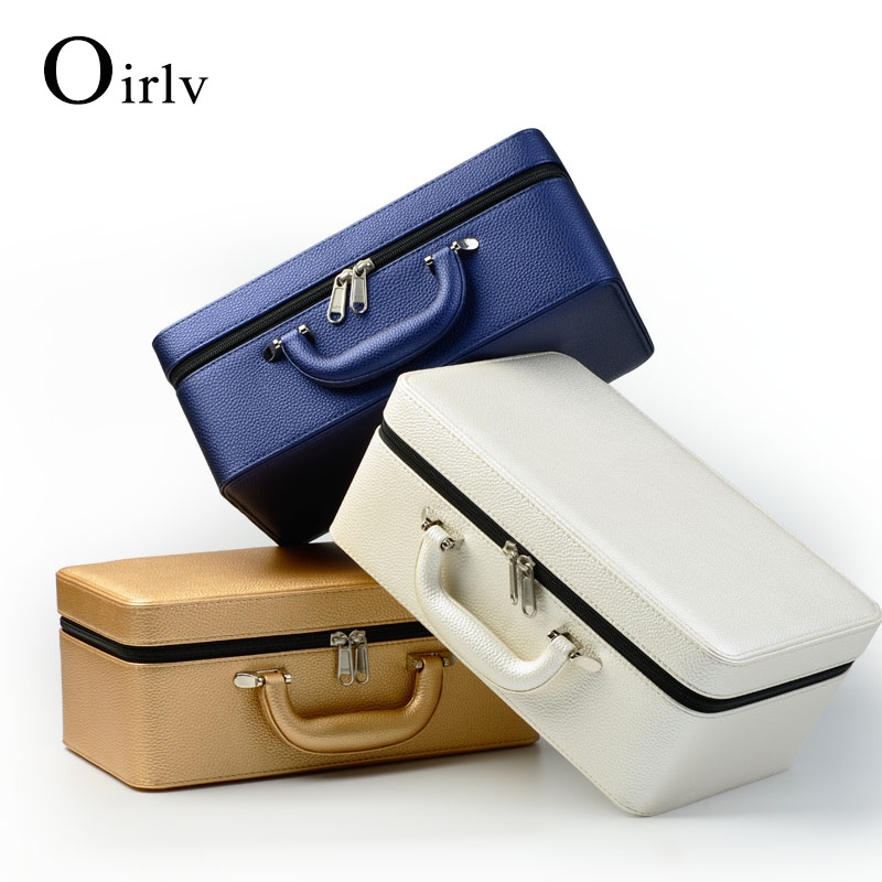Oirlv High Quality Leather Jewelry Box Portable Travel Jewelry Case Ring Necklace Organizer Storage Jewelry Holder 3 Layers title=