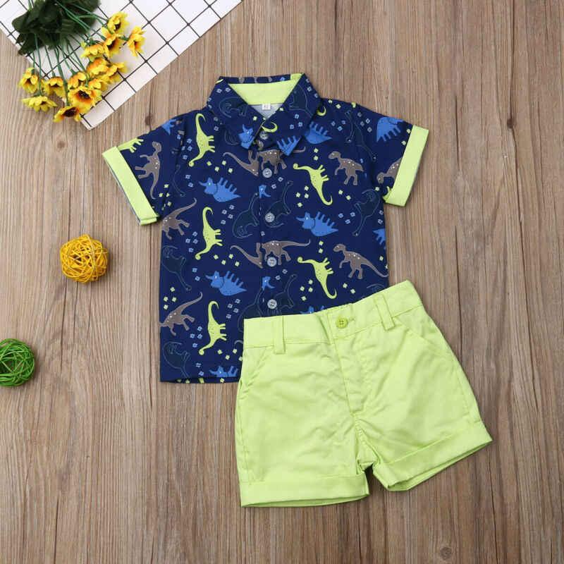 2019 תינוק קיץ בגדים פעוט יילוד ילדים תינוק בני בגדי דינוזאור חולצה חולצות + מכנסי קצרים טלאי תלבושות סטי 1 -5T
