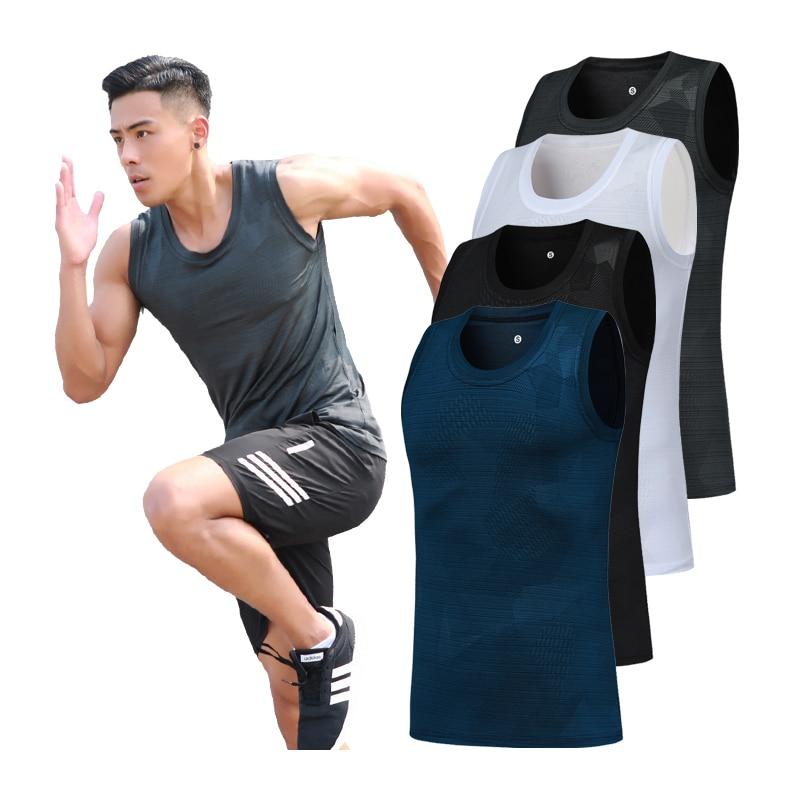 Sleeveless Mens Gyms Print Bodybuilding Men Sportwear Shirts Quick Dry Compression Top Singlet Men Vest