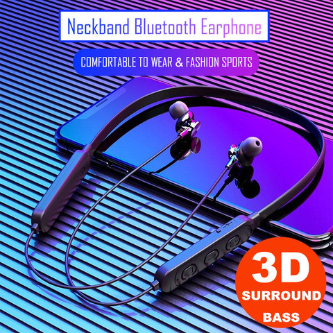 Neckband Bluetooth Headphones Stereo Headset Wireless Bluetooth Earphone Sports Earbuds With Mic for universal all mobile phones Pakistan