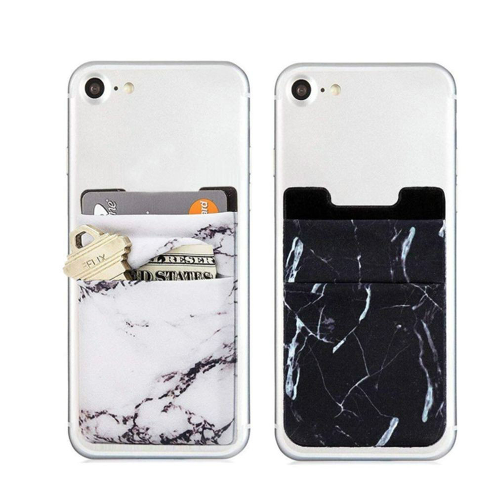 Elastic Mobile Phone Wallet Credit ID Card Holder Adhesive Pocket Stickers Organizer Pouch Case Bag