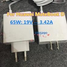 Nouveau 65W 19V 3.42A commutation PowerTravel chargeur adaptateur HW 190340E00 pour Huawei Matebook D 2018