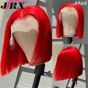 Image 3 - JRX שיער כתום מראש בצבע תחרה מול פאה 100% שיער טבעי בוב פאה בצבע מראש קטף ברזילאי 13*4 תחרה מול פאות