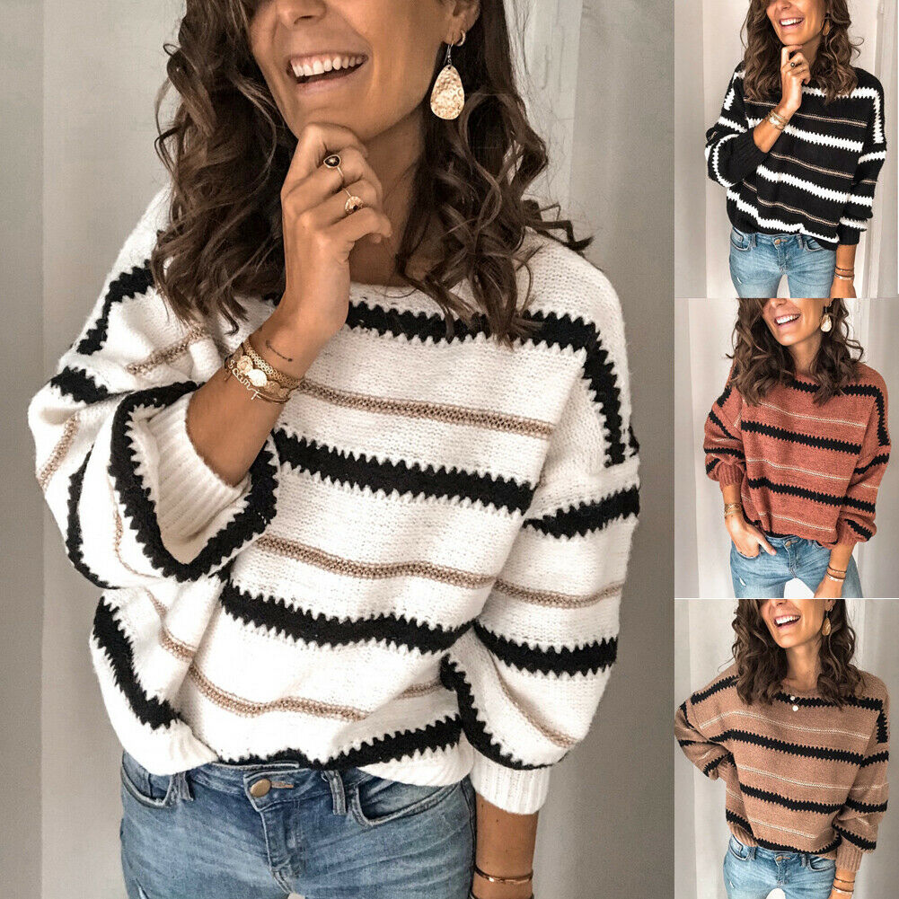 Goocheer New Fashion Women Autumn V Neck Long Sleeve Sweater Loose Knit Pullover Sexy Jumper Tops