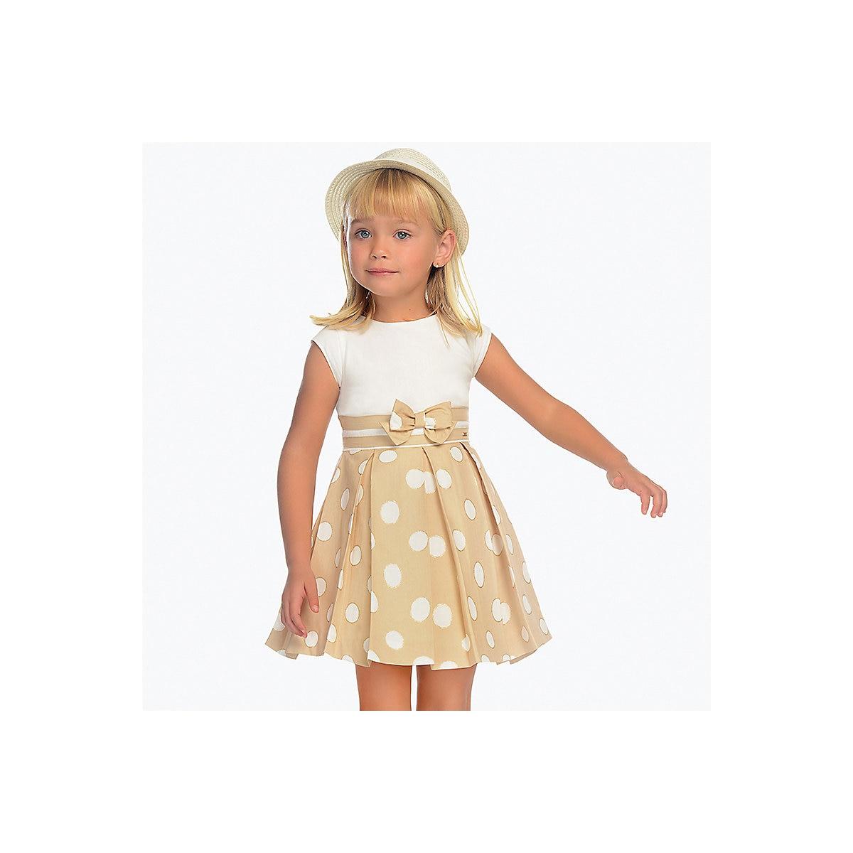MAYORAL Dresses 10685082 Girl Children Party fitted pleated skirt Beige Cotton Preppy Style Dot Knee-Length Short Sleeve tribal style fringe hem short skirt