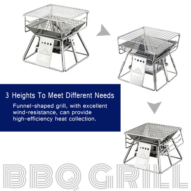 Folding Portable Stainless Steel BBQ Grill  4