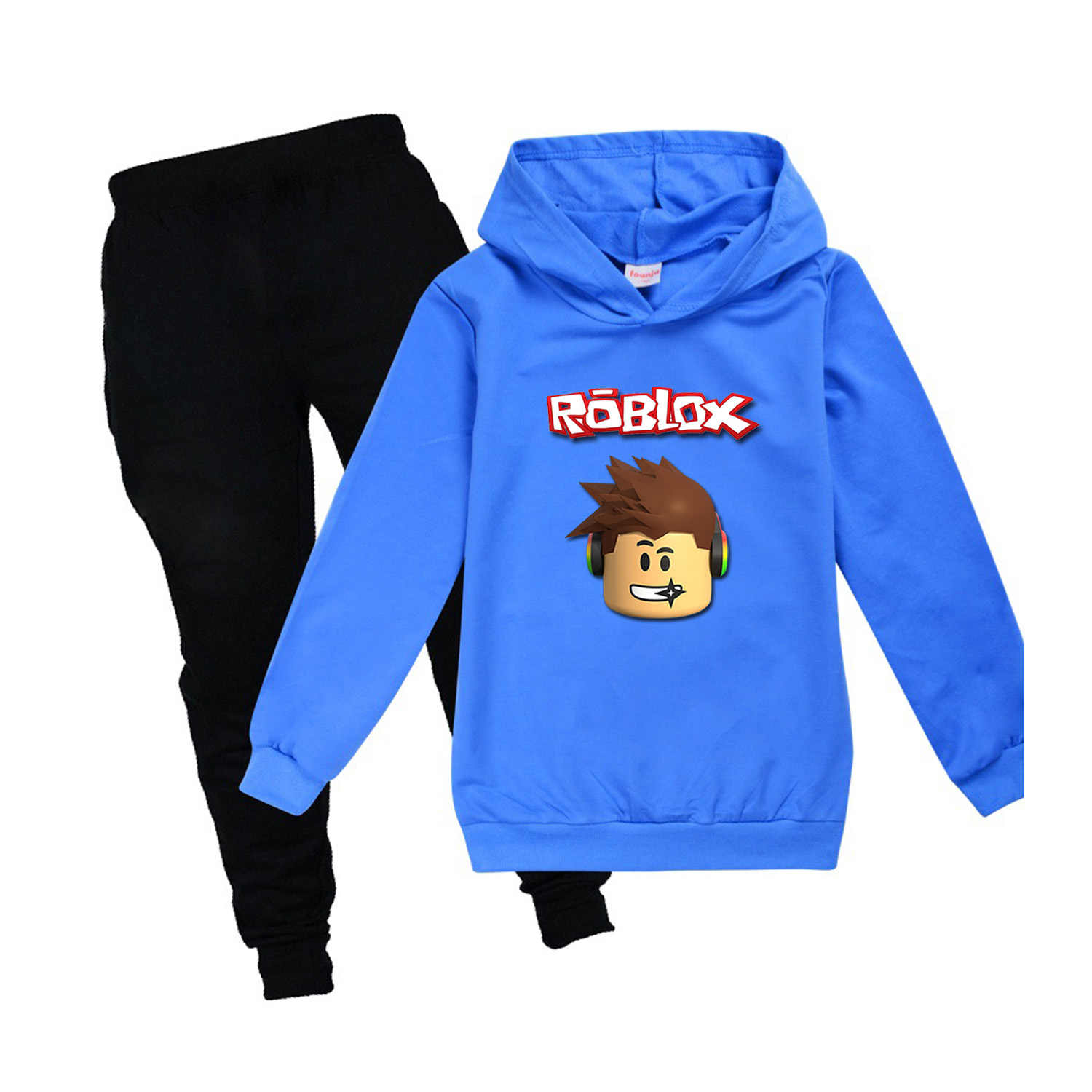 Youth Pullover Hoodie R-oBl-ox Adopt me Sweatpants Suit Hooded Tracksuit Sweatshirt Set for Teen Boys Girls