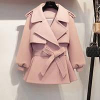 Новинка 2019, осенне-зимнее пальто, Женское шерстяное короткое пальто, женские винтажные приталенные куртки с поясом, розовые пальто, Casaco Feminino