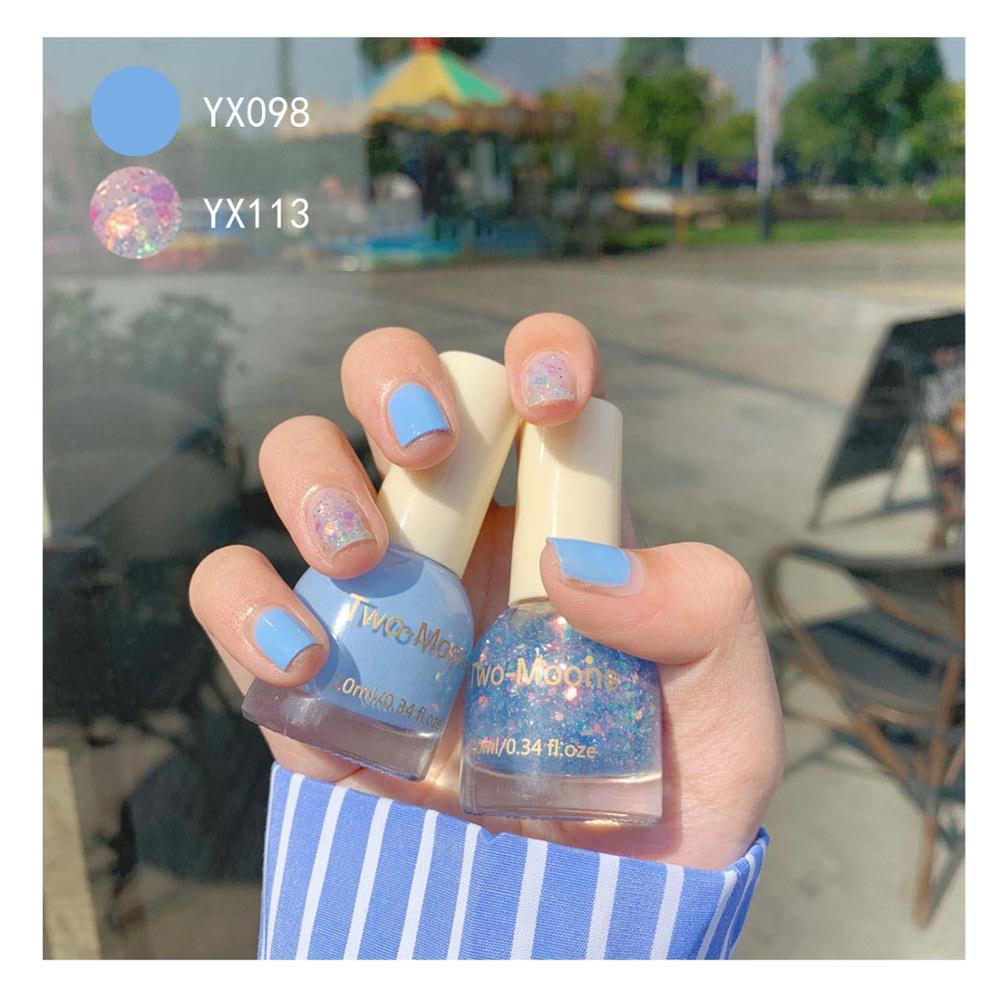 [2 Bottles] Non-peelable Nail Polish Hit Color Nail Art Combination Unicorn Sequin Ivory White Milk White Nail Polish