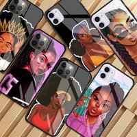 Funda de cristal para teléfono móvil, carcasa protectora negra Afro para iPhone 11 12 Pro XR X 7 8 XS Max 6 6S Plus SE 2020