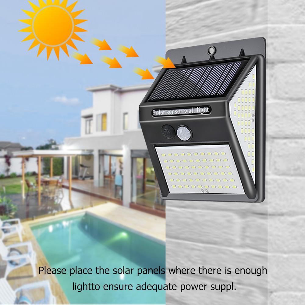 140LED Solar Motion Sensor Wall Light Outdoor Waterproof Small Street Human Body Induction Garden Street Path Lamp Solar Lamps     - title=