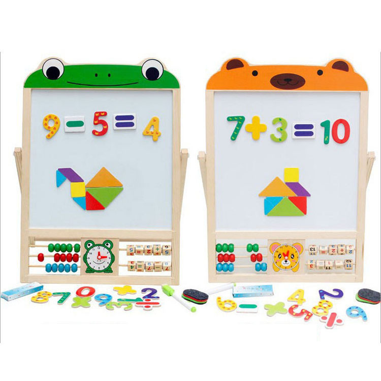 Children Learning Sketchpad Baby Painting Graffiti Blackboard Double Sided Solid Wood Multi functional Writing Board