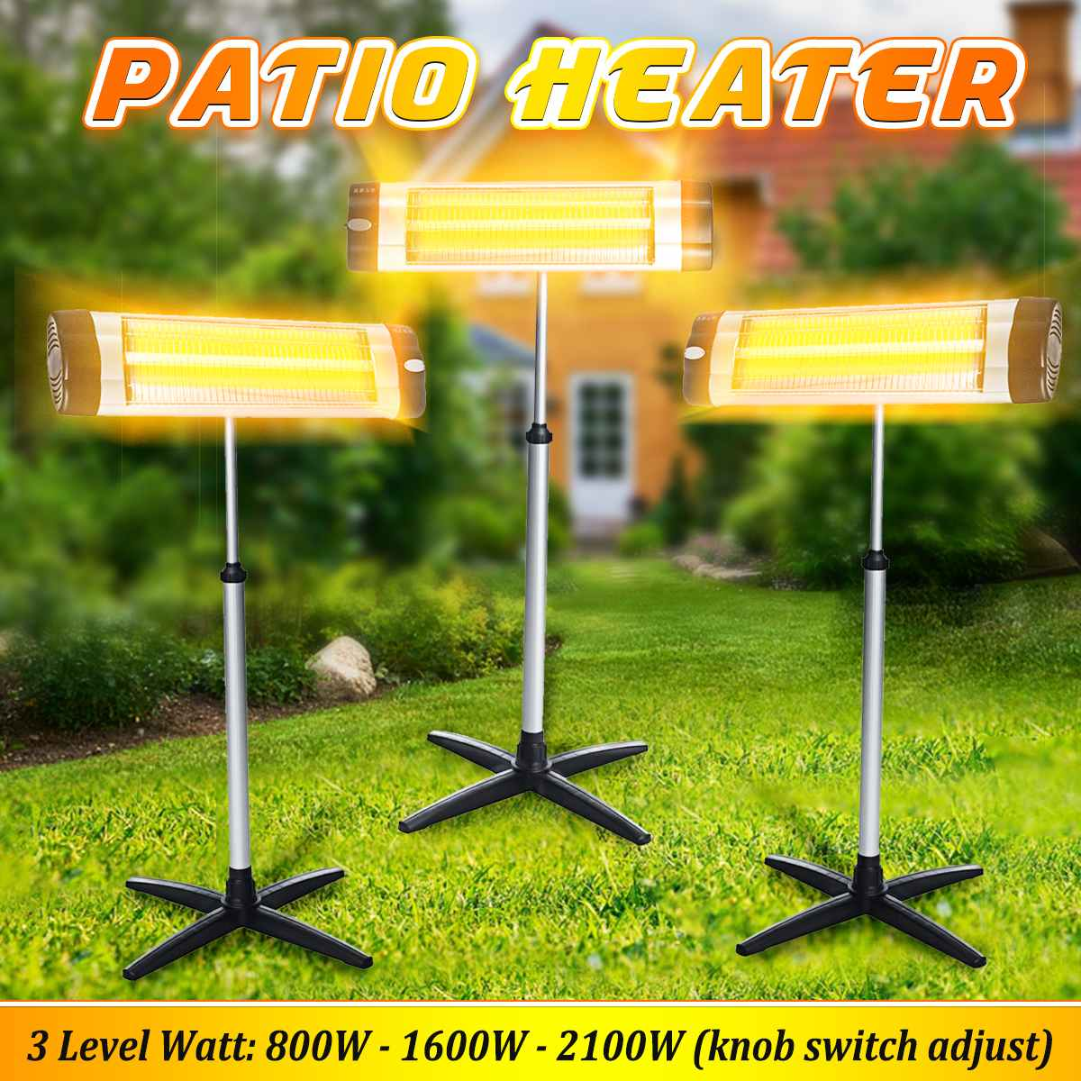 Multifunction 3 Level Patio Heater Adjustable Air Heater Aluminum Waterproof Courtyard Electric Heating For Deck Pool Area 220V