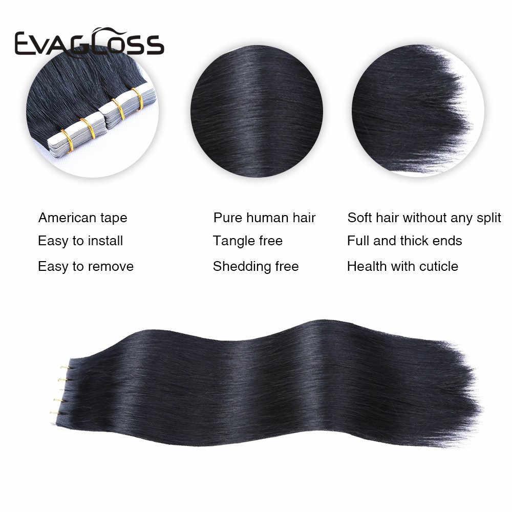 Evagloss Tape In Human Hair Extensions Europese Machine Remy 20Pcs 40Pcs 80Pcs Straight Lijm Extension Tape In menselijk Haar