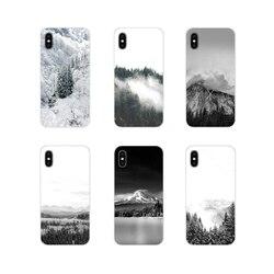 Чехлы для телефонов Xiaomi Mi4 Mi5 Mi5S Mi6 Mi A1 A2 A3 5X 6X 8 CC 9 T Lite SE Pro, черно-белые аксессуары в виде гор