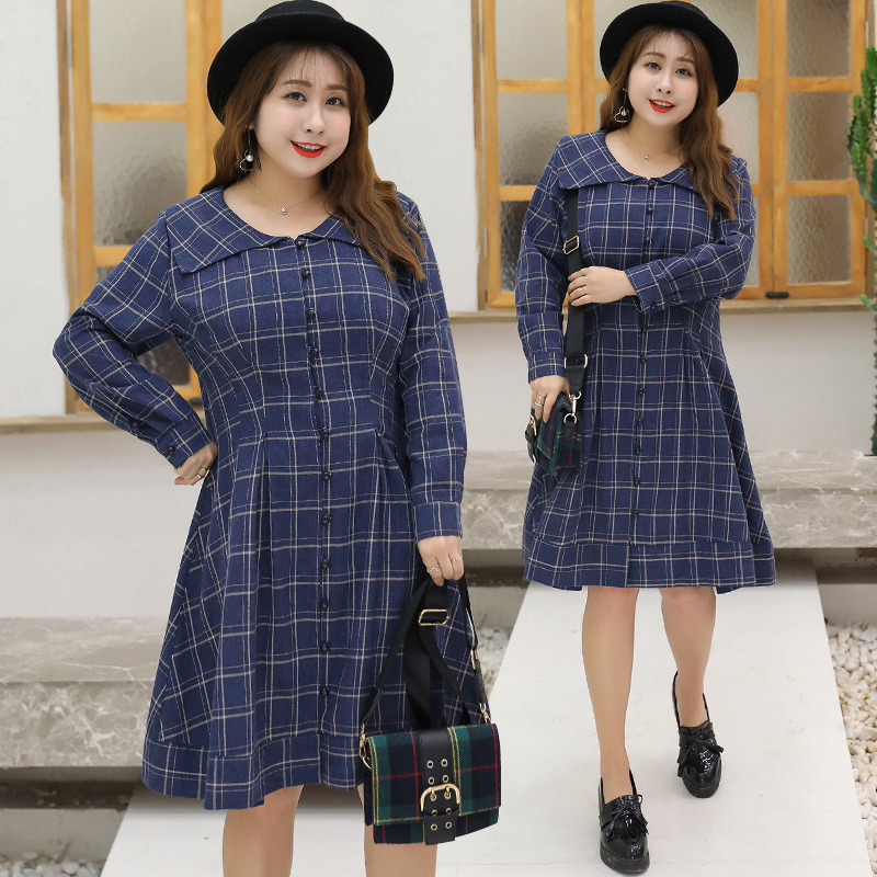 [Sold Out Lower Rack] Large GIRL'S Large Size Dress Plus-sized Plaid Full Body Dress A Generation Of Fat A150