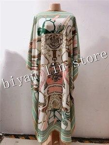 Image 3 - Jurk Lengte: 130Cm Buste: 130Cm 2020 Nieuwe Mode Jurken Bazin Print Dashiki Vrouwen Lange Jurk/Gown Yomadou Kleur Patroon Oversize