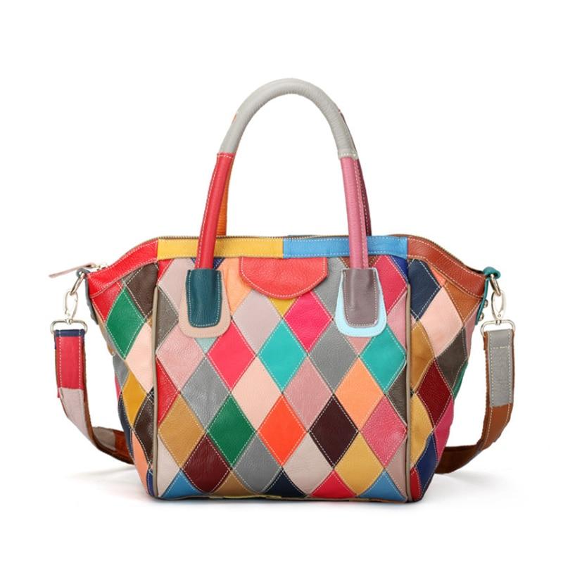 сумка мультиколор кожа пэчворк - Genuine Leather Women Bag Fashion Multicolor Patchwork Cow Leather Women Handbags High Quality Ladies Shoulder Bags