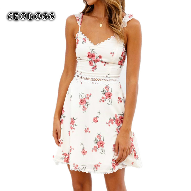 <font><b>Sexy</b></font> strap ruffles Hollow Mini <font><b>dress</b></font> <font><b>women</b></font> Floral print <font><b>boho</b></font> beach <font><b>dress</b></font> <font><b>2018</b></font> Elegant bow Lace <font><b>dress</b></font> <font><b>summer</b></font> sundress vestidos image