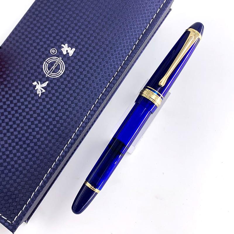 Wing Sung 699 Blue Fountain Pen Translucent Brown Vaccum Filling Fountain-Pen Fine Nib Pen School Office Stationery Gift BOX