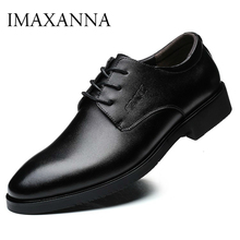 IMAXANNA Men Shoes Luxury Brand Genuine Leather Business Dress Wedding Shoes Man Classic Leather Shoes Footwear Plus Size 38 47