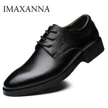 IMAXANNA męskie buty luksusowe marki prawdziwej skóry biznesowych sukienka buty ślubne człowiek klasyczne skórzane buty obuwie Plus rozmiar 38 47