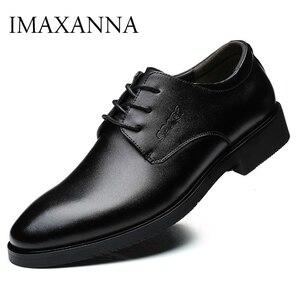 Image 1 - IMAXANNA גברים נעלי יוקרה מותג אמיתי עור עסקי שמלת חתונת נעלי גבר קלאסי עור נעלי נעליים בתוספת גודל 38  47