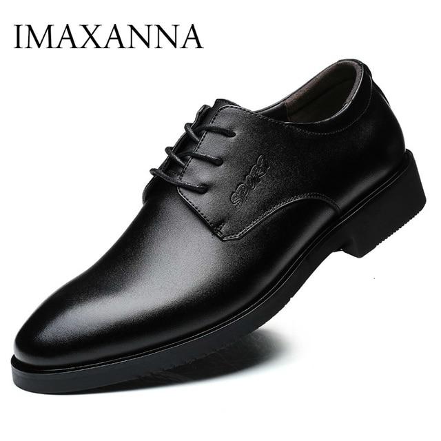 IMAXANNA גברים נעלי יוקרה מותג אמיתי עור עסקי שמלת חתונת נעלי גבר קלאסי עור נעלי נעליים בתוספת גודל 38  47