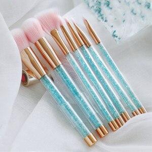 Image 4 - 7 Pcs Makeup Brushes Set Glitter Diamond Crystal Handle Makeup Brushes Powder Foundation Eyebrow Face Make Up Brush CosmeticTool