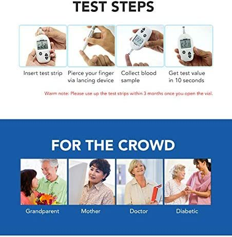 (100pcs) Sinocare Safe-Accu Blood Glucose Test Strips and Lancets for Diabetes Tester 3