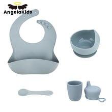 1 conjunto bebê silicone bib conjunto de alimentação tigela colher copo de silicone bpa-livre à prova dwaterproof água portátil utensílios de mesa para crianças