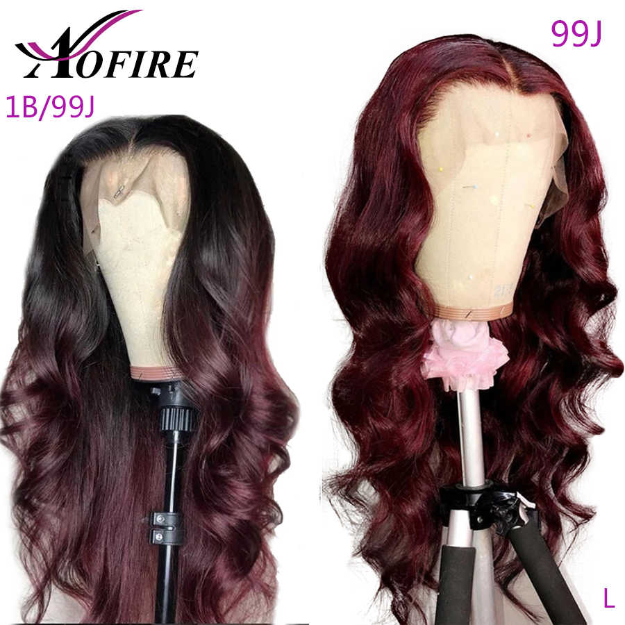 13x6 Lace Front Human Hair Wigs 1B/99J Body Wace Omber Burgundy Brazilian Remy Hair 99J Color 130% Density For Black Women