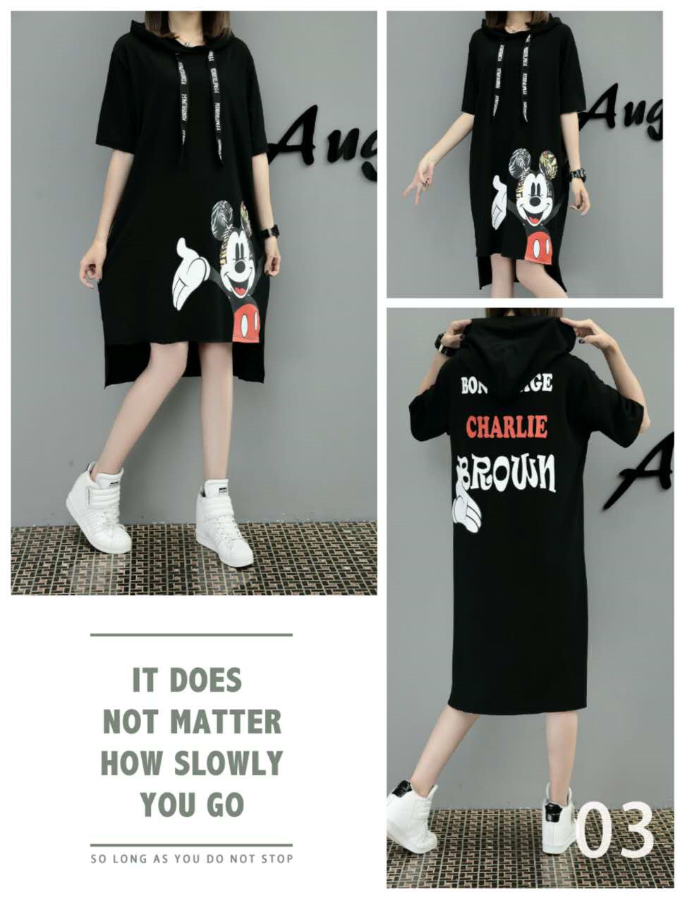 Hd096625937d144cdbcce70b7bd3d45abB - New Runway short sleeve Hooded Sweatshirt dress casual mickey cartoon printed women femme oversize dresses vestidos