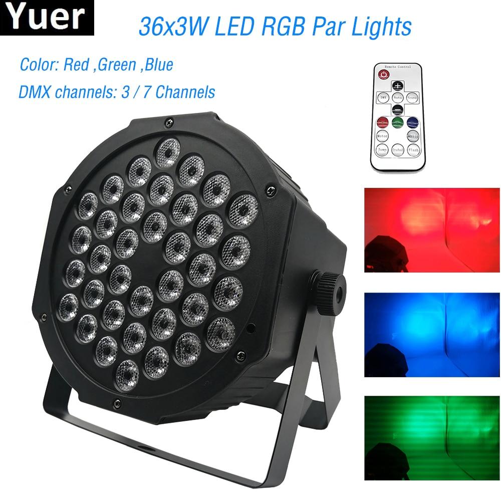2019 New Professional LED Stage Lights 36 LED RGB PAR DMX Stage Lighting Effect DMX512 Master-Slave Flat For DJ Disco Party KTV