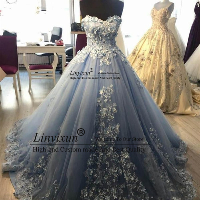 Elegant Sweetheart Neck   Prom     Dresses   Long Ball Gowns Tulle Appliques Beaded Evening   Dresses   Formal Long Women   Prom     Dress