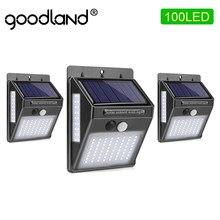 1 pièces Goodland éclairage extérieur avec capteur solaire, 100 led extérieure avec pir motion capteur imperméable pour la décoration de rue