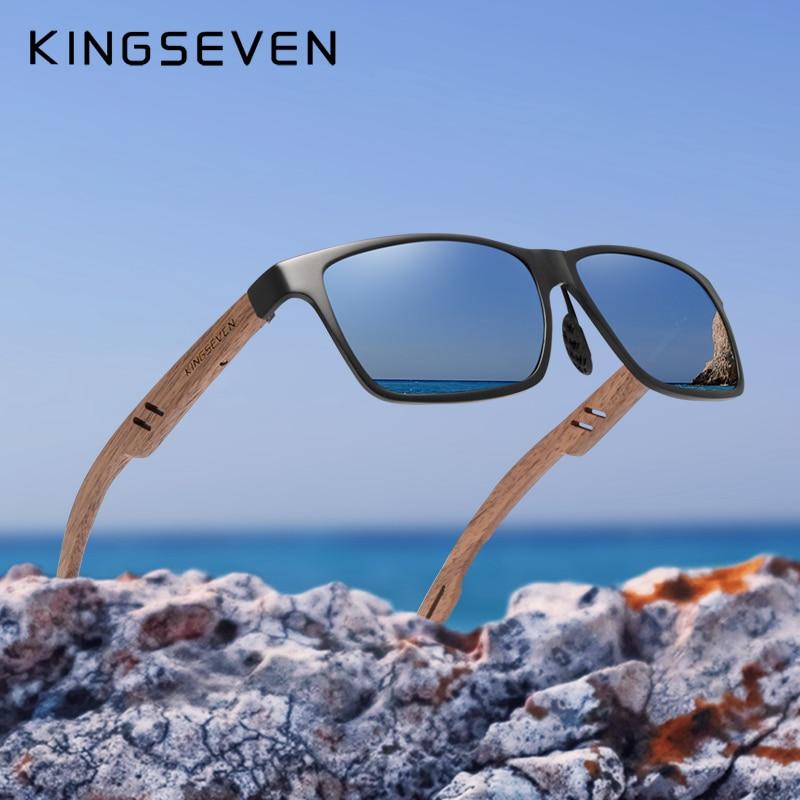 KINGSEVEN 2019 New Design Aluminum+Handmade Walnut Wooden Sunglasses Men Polarized Eyewear Accessories Sun Glasses For Women