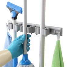 Многофункциональный настенный пластиковый держатель для швабры, клейкая щетка, метла, вешалка для хранения, ванная комната, домашний гараж, Органайзер